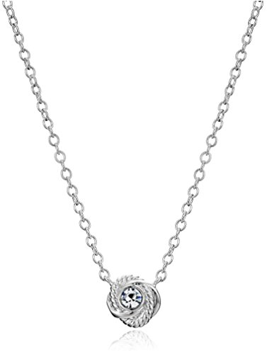 """kate spade new york """"Infinity and Beyond"""""""" Clear/Silver Knot Mini Pendant Necklace"""""""