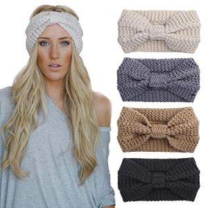4 Pack Knit Headbands Winter Braided Headband Ear Warmer Crochet Head Wraps for Women Girls H7 (4ColorPackJ)