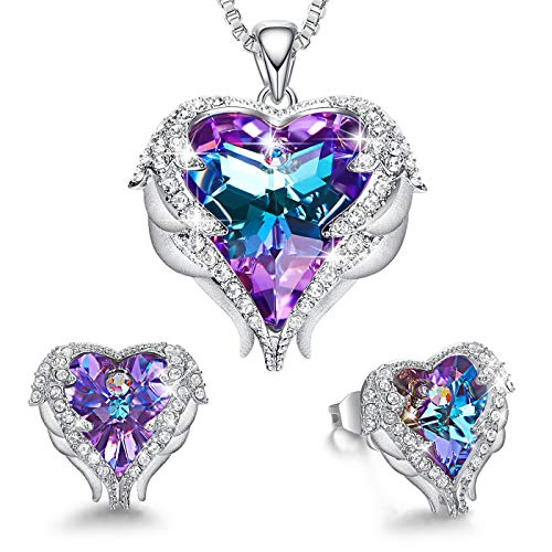 CDE Angel Wing Heart Valentine Jewelry Sets Gift Crystals from Swarovski Set for Women Pendant Necklaces and Earrings Anniversary Birthday Valentines Day Jewelry Gifts for Women Love
